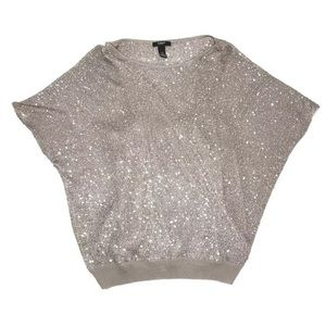 Alfani Sparkle Top Petite Medium Sequence Shirt